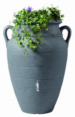 Regenton Amfoor Antiek Donker Graniet met planten
